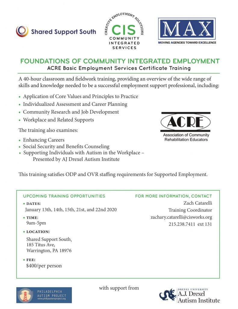 Foundations of Community Integrated Employment @ Shared Support South